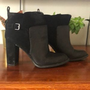 Black leather and suede booties